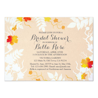 "Autumn leaf fall bridal shower invites autm4 4.5"" x 6.25"" invitation card"