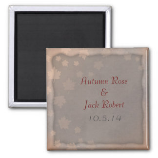 Autumn Leaf Fall Wedding Favor Save the Date Square Magnet