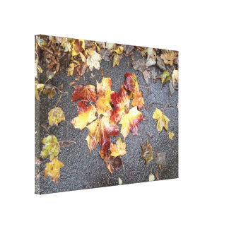 Autumn Leaf Heart Photo Canvas Print