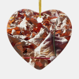 Autumn leaf in the fall ceramic heart decoration