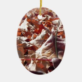 Autumn leaf in the fall ceramic ornament
