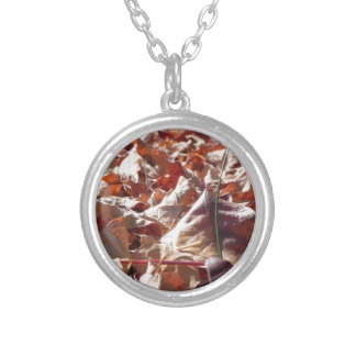 Autumn leaf in the fall silver plated necklace