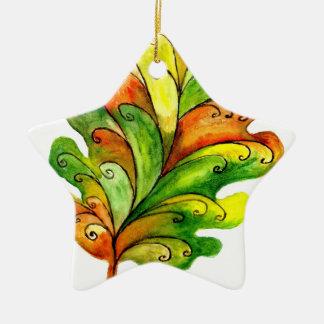 Autumn Leaf in Watercolor Ceramic Ornament