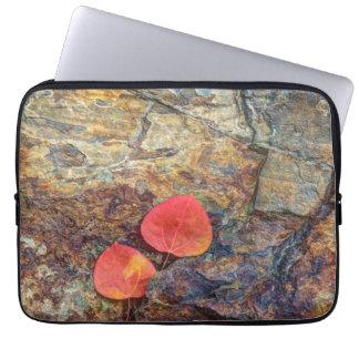 Autumn leaf on rock, California Laptop Sleeve