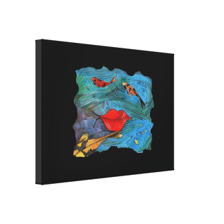 """""""Autumn leaf on the water and fishes"""" by Agni Kama Stretched Canvas Prints"""