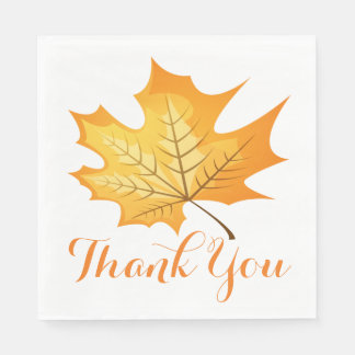 Autumn Leaf Orange Thank You Rustic Wedding Disposable Napkin