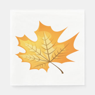 Autumn Leaf Orange Wedding Disposable Napkins