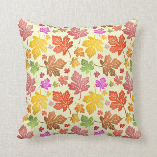 Autumn Leaf Pattern Colorful Painted Fall Foliage Throw Cushions