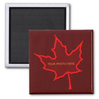 Autumn Leaf Photo Template Square Magnet