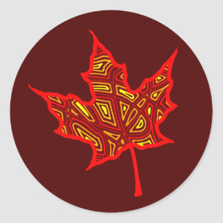 Autumn Leaf Round Sticker