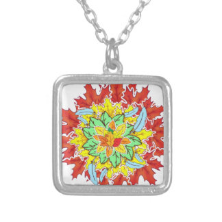 autumn leaf silver plated necklace