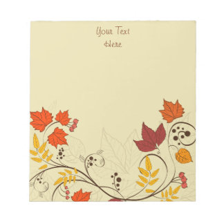 Autumn Leaf Vines with Customizable Text Notepad