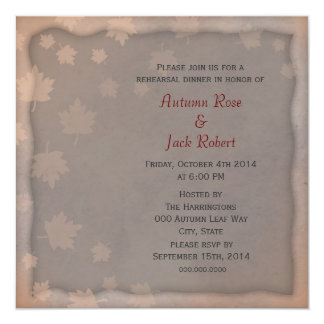 Autumn Leaf Wedding Rehearsal Dinner Invitation
