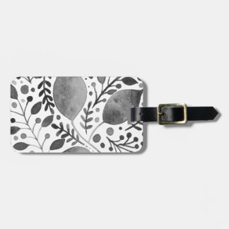 Autumn leafs - black and white luggage tag