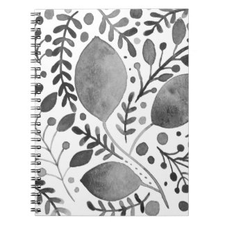 Autumn leafs - black and white notebook