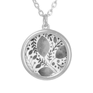 Autumn leafs - black and white silver plated necklace