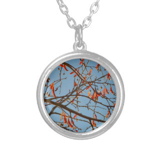 Autumn leafs silver plated necklace