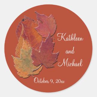 """Autumn Leaves 1.5"""" Diameter Round Sticker"""