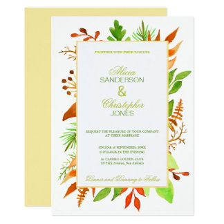 Autumn leaves and berries ivory white wedding card