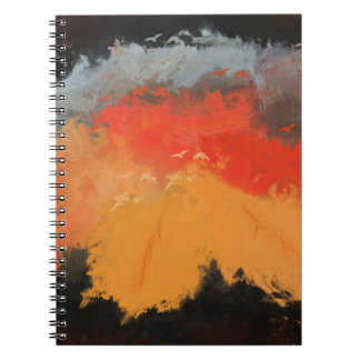 Autumn leaves and birds spiral notebook
