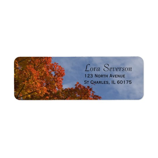 Autumn Leaves and Blue Sky Return Address Label