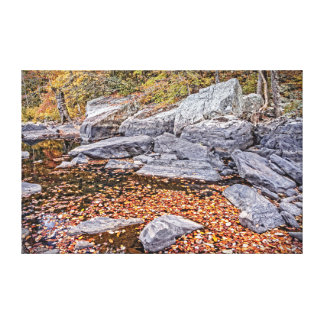 Autumn Leaves and Boulders on the Little River Canvas Print
