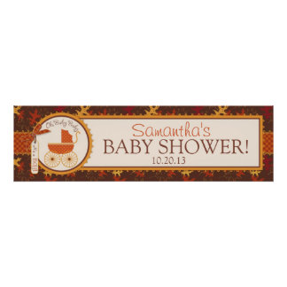 Autumn Leaves and Carriage Baby Shower Banner Poster