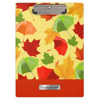 Autumn Leaves and Umbrellas Clipboard