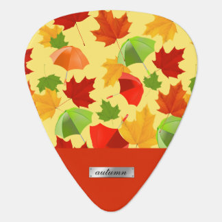 Autumn Leaves and Umbrellas Guitar Pick
