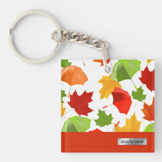 Autumn Leaves and Umbrellas Key Ring