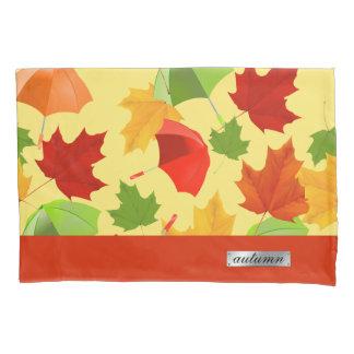 Autumn Leaves and Umbrellas Pillowcase