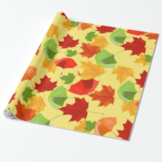 Autumn Leaves and Umbrellas Wrapping Paper