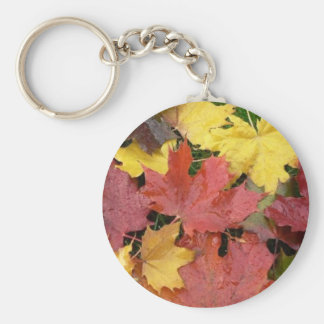 Autumn Leaves Basic Round Button Key Ring