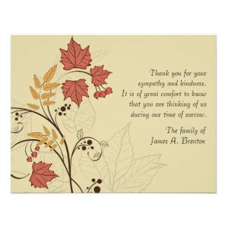Autumn Leaves Bereavement Thank You Notecard Announcement