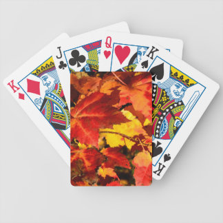 Autumn leaves bicycle playing cards