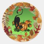 AUTUMN LEAVES BLACK CAT by SHARON SHARPE Round Sticker