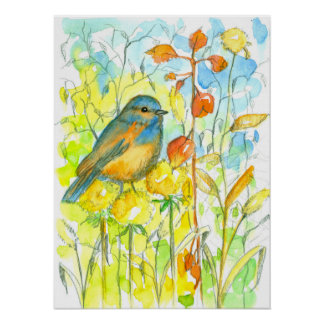 Autumn Leaves Bluebird Watercolor Poster