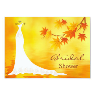 Autumn leaves, Bridal Dress Shower Card