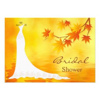 Autumn leaves Bridal Dress Shower Cards