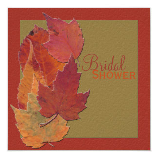 "Autumn Leaves Bridal Shower Invitation 5.25"" Square Invitation Card"