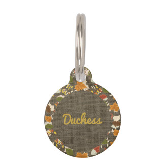 Autumn Leaves Burlap for Pet ID Phone Number Pet Tag