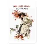Autumn Leaves Business Card Lady and Dog