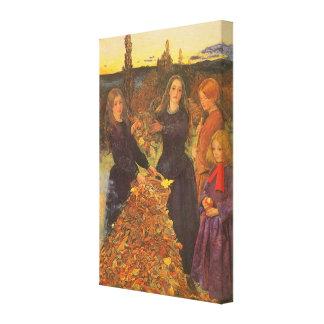 Autumn Leaves by Millais, Vintage Victorian Art Canvas Print