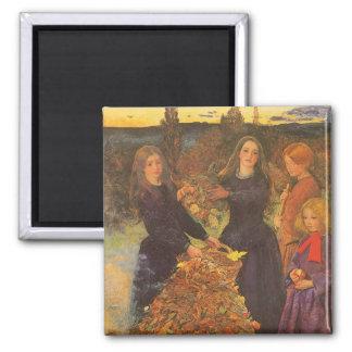Autumn Leaves by Millais, Vintage Victorian Art Fridge Magnet