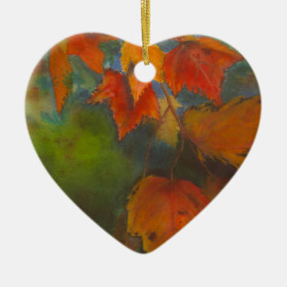 Autumn Leaves Ceramic Heart Decoration