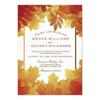 Autumn Leaves Elegant Fall Wedding Invitation