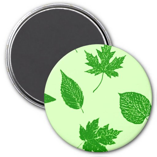 Autumn leaves - emerald and lime green refrigerator magnet