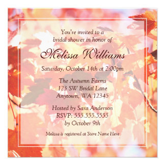 Autumn Leaves Fall Bridal Shower Invitations