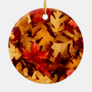 Autumn Leaves - Fall Color Round Ceramic Decoration