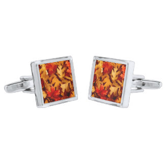 Autumn Leaves - Fall Color Silver Finish Cufflinks